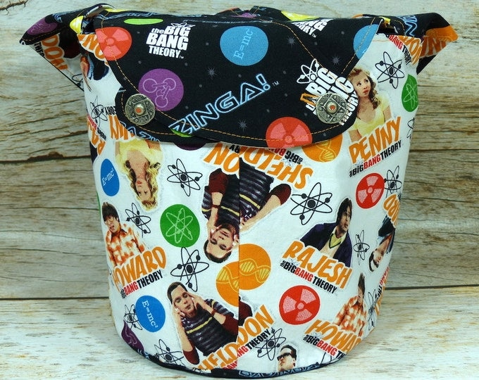 Bazinga!  -Medium Llayover Knitting Tote / Knitting, Spinning, Crochet Project Bag