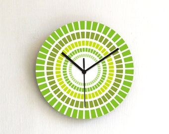 Green stripes Round wall clock,geometric wooden printed patterned graphic design decorative clock,kitchen housewarming hostess home decor