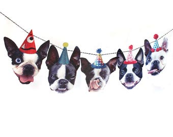Boston Terrier Dog Birthday Garland - party decoration for Bostie lovers