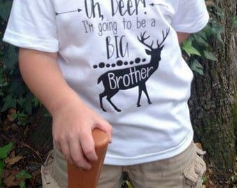 Big Brother Shirt/ Pregnancy Announcement/ Deer Brother Shirt/ Hunter Brother Shirt/ 2nd Pregnancy Announcement/ Deer Shirt/ Black and White