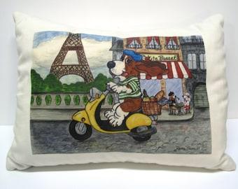 "Basset Hound Pillow -""Jean Pierre in France"""