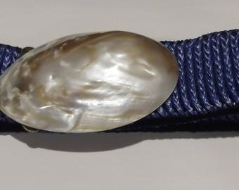 Bright Blue Elastic Stretch Belt with Sommai Shell Buckle