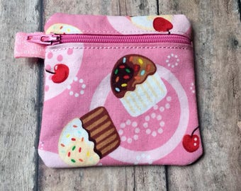 Pink Cupcake Zippered Pouch, Coin Purse, Ear Bud Case, Small