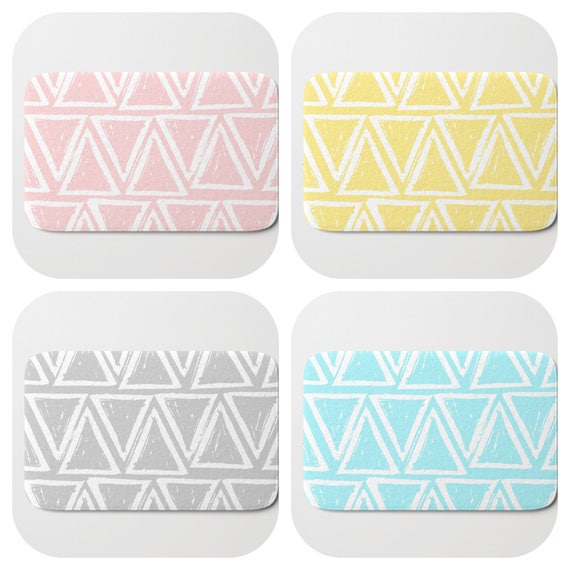 Bath Mat - Blush Pink Bath Mat - Silver Grey Bath Mat - Bath Rug - Aqua Shower Mat - Triangle Rug - Yellow Rug - Pastel Memory Foam Mat
