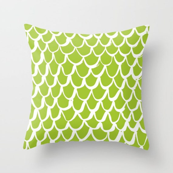 OUTDOOR Throw Pillow - Mermaid Outdoor Pillow - Lime patio cushion - 16 18 20 inch - Mermaid Outside Pillow - Lime Green Mermaid Pillow