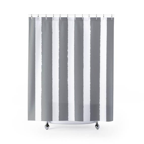 Grey Shower Curtain . Gray Striped Shower Curtain . Modern Grey Shower Curtain . Shower Curtain . Gray Striped Shower Curtain