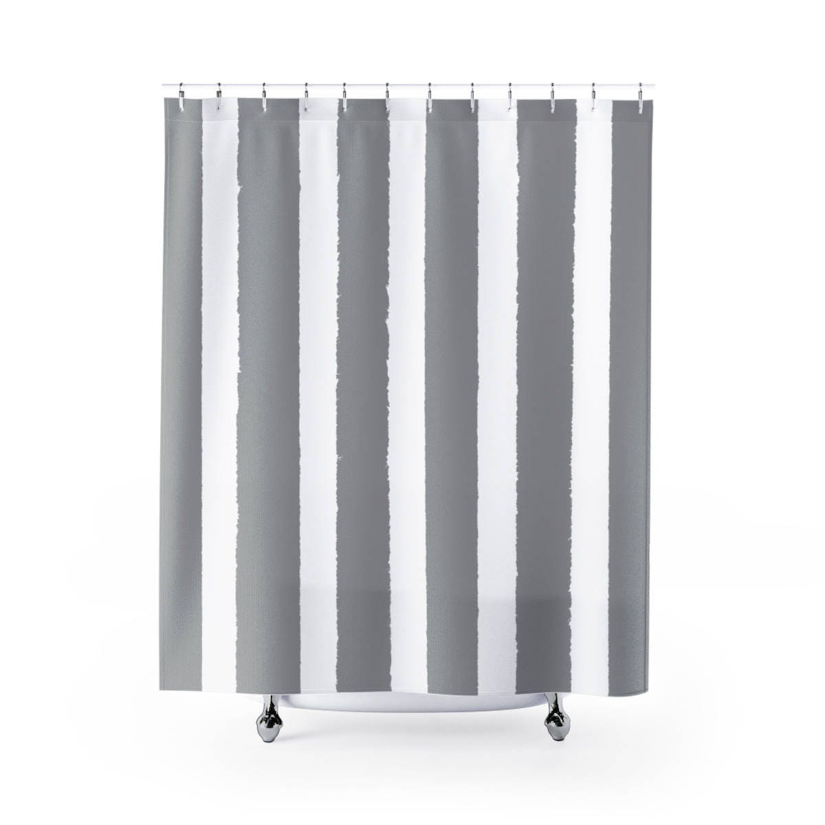 Grey White Striped Shower Curtain. Grey Shower Curtain  Gray Striped Modern