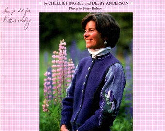 Sweaters from the Maine Islands 16 Patterns Village Scene Lupines Holly Window Box Loon Grapes Cables Diamonds Knit Craft Pattern Book