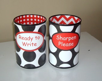 Black White Red Polka Dot and Chevron Desk Accessories - Tin Can Pencil Holder with Labels - Classroom Organization - Teacher Gift   1024