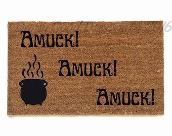 Hocus Pocus Amuck cauldron- moon eclipse witchcraft samhain halloween doormat- clean house
