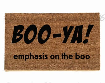 Boo ya! Emphasis on the boo. Funny Ghostbusters halloween doormat