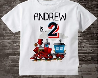 Train Birthday Boy Shirt - 2nd Birthday Shirt, Personalized Boys Second Birthday Shirt with Child's Name and age 07192017c