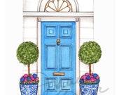 Spring Dream Home Art Print / Home Decor Sketch, Ginger Jar Art, Blue and White Art Print, Topiary Art Print, Blue Door Wall Art