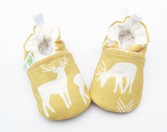 Organic Vegan Yellow Deer / All Fabric Soft Sole Baby Shoes / Made to Order / Babies