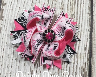 Hot Pink and Black Hair Bow, Hot Pink Bow, Black Bow, Boots Made for Walking, Pink and Black Bow, Ready to Ship, Toddler Hair Bow