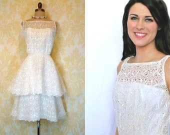 Vintage 1950s CEIL CHAPMAN White Lilly Organza Illusion Eyelet Lace Wedding Party Dress XS S