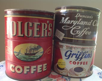 Vintage Coffee Can Collection Set of Three