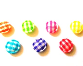 100 pcs Mix color Gingham Round Center Padded Appliques size 9 mm