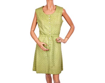 Vintage 1960s Lime Green Knit Dress Size M