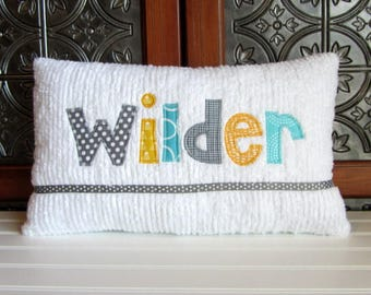 Your Name Personalized Baby Boy Name Pillow, Nursery Pillow, Baby Boy Name Shower Gift, New Baby Gift, BIrth Announcement, Gray, Teal
