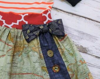 World map dress etsy what a wonderful world dress girls mixed fiber dress gumiabroncs Choice Image