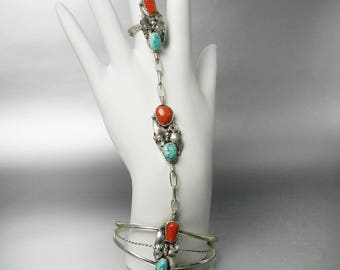 Vintage Navajo Turquoise Coral Slave Bracelet Old Pawn Native American SilverJewelry