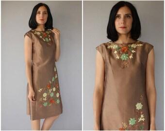 1960s Cocktail Dress | 60s Dress | 60s Cocktail Dress | Embroidered 1960s Dress | 60s Party Dress | 1960s Shift - (medium)