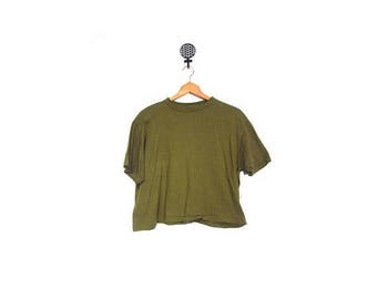 30% OFF Vintage 80s ARMY Green Distressed Cropped Cotton Short Sleeve Top women m l men m grunge hipster t shirt vestiesteam USA military mi