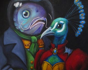 The Bird and the Fish In Love - original whimsical painting by Kellie Marian Hill