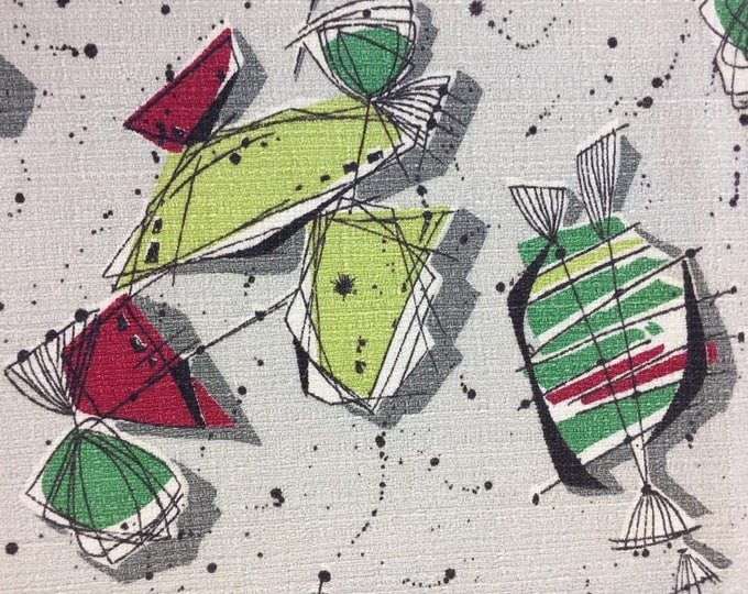 Featured listing image: 50's Candilicious Abstract Barkcloth//Eames Style Print//Lime Red, Green and Black Splashes on Silver Ground