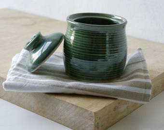 Lidded sugar jar - handmade stoneware kitchen canister glazed in forest green