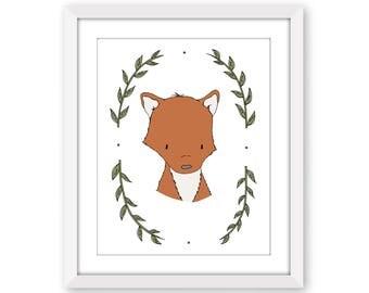 Woodland Nursery Art -- Portrait Of A Fox -- Fox Art -- Woodland Animal Art -- Children Art Print -- Kids Wall Art -- Fox Picture