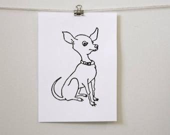 "playful minimal room decor: ""cute chihuahua,"" hand-pressed thermal print"