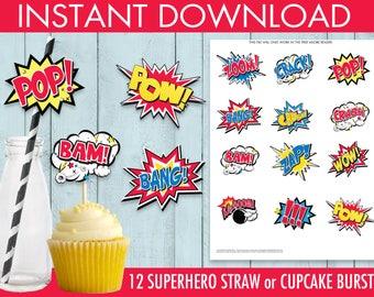 Superhero Straw Flag/Cutout Bursts, Superhero Party, Superhero Birthday, Straw Tags | DIY Instant Download PDF Printable
