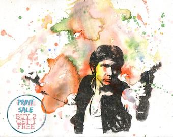 Star Wars Art Han Solo Painting Star Wars Poster print 8 X 10 in. Star Wars Print Wall Decor Movie Poster Nerd Ar Star Wars Gift