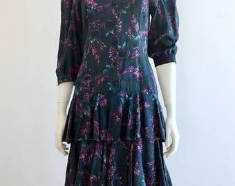 SALE EVENT Drop Waist Tiered Ruffled Dress Size M - Blue Floral Tiered Ruffle 3 Quarter Sleeve Dress - Puffed Bell Sleeve Drop Waist Knee Le