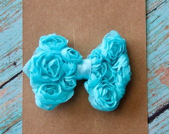 Turquoise Chiffon Rosette Hair Bow