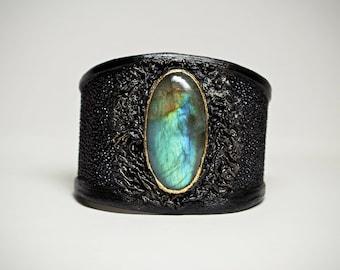 Genuine Stingray black leather bracelet cuff with labradorite. Handcrafted exotic leather statement bracelet bangle semiprecious stone