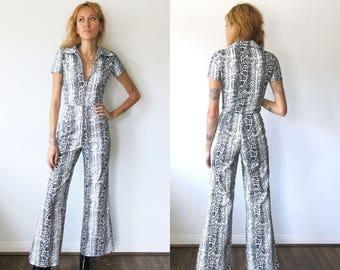 Snakeskin Jumpsuit / Snake Skin Zip Front Jumpsuit / 70s Jumpsuit Sz XS S M L