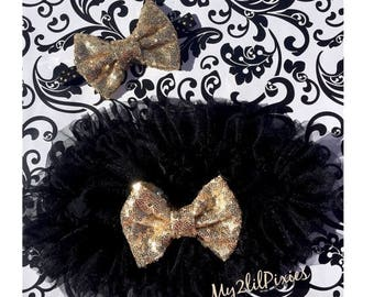 SALE TUTU BLOOMER and Headband Set-Baby Girl Set. Black and Gold Tutu Baby Skirt, Black Chiffon Ruffle Skirt, Birthday Girl, set, Black and