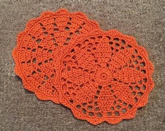 D-98. Crochet Doily Set of 2 Halloween Crochet Lace Doily Orange Coaster Circular Coasters Drink Coasters crochet Lace coaster doily