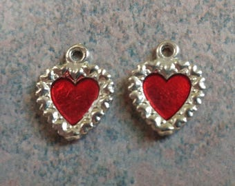 Heart Charms- Enamel- Vintage Heart Findings- Bright Red-  Heart Pendants- Vintage Component- Silver Plated- Valentine- Set Of 2