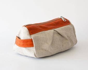 Pencil case in offwhite canvas and orange leather, makeup bag cosmetics case toiletry storage case accessory bag - Estia Bag