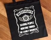 Saving people hunting things Tote Bag  White on black Supernatural