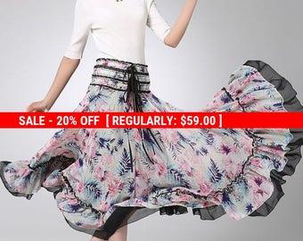flower printed skirt, chiffon skirt, maxi skirt, high waisted skirt, full length skirt, summer skirt, bohemian skirt, flare skirt (1235)