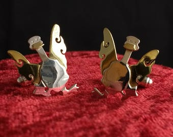 Sterling and Brass Duck Cufflinks - Great Father's Day Gift! - Go Ducks!