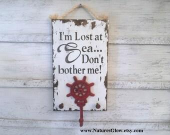 Wood Sea Decor, Tropical Sign, Key Hooks, I'm Lost at Sea, Beach Decor, Boat Decor, Key Rack, Ship's Wheel, Nautical Key Holder