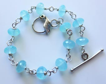 Chalcedony Sterling Silver Toggle Bracelet EE Designs