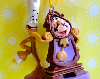 Lumiere Candle and Cogsworth the Clock Custom Christmas Ornament - Holiday Gift Ornament