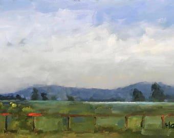 AFTER THE RAIN, Rush Ranch, 9 3/4 x 16 - Suisun Slough - California Landscape - Original - Plein Air Painting - Home Decor - Wall Art - Art